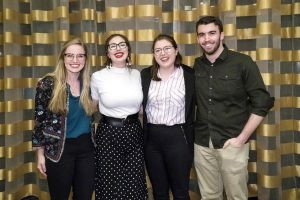 Ceili Hesselgrave, far left, and Carrie Ferrelli, third from left, with other students at the theatre conference.