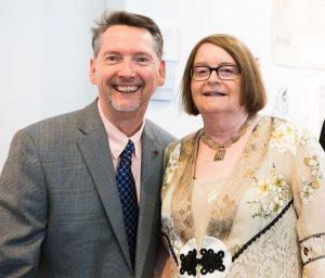 Associate Dean Michael Haga with School of the Arts Dean Valerie Morris.