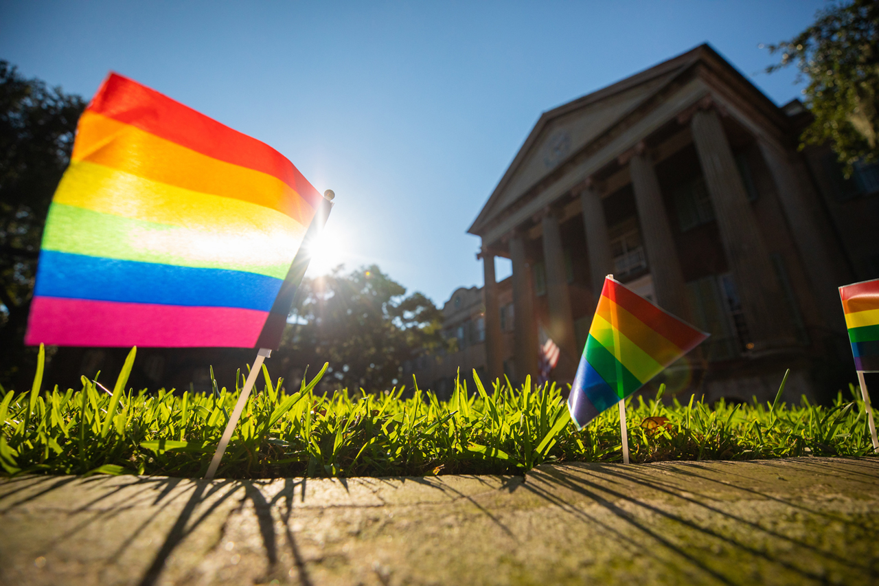rainbow flags line the cistern at the college of charleston