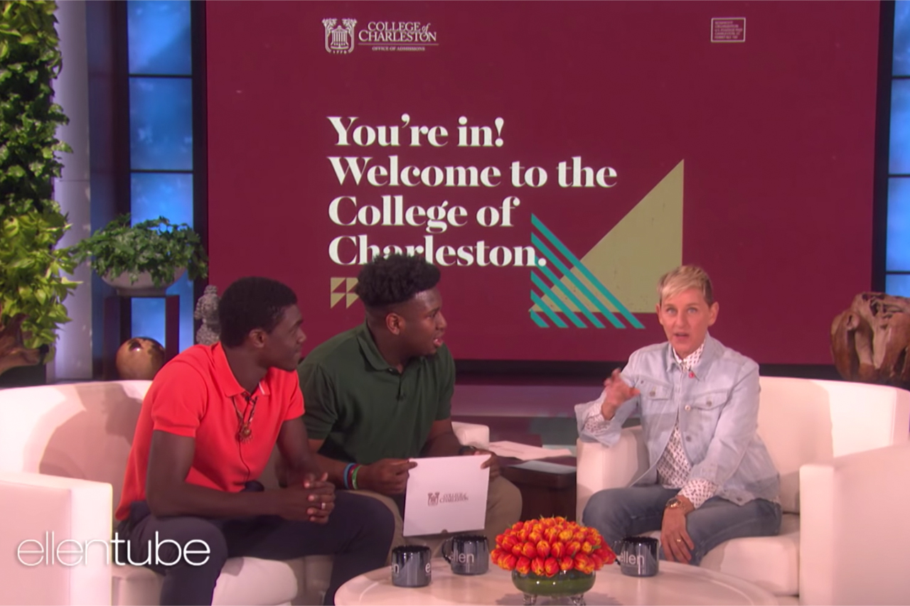 cofc students accepted on The Ellen Show