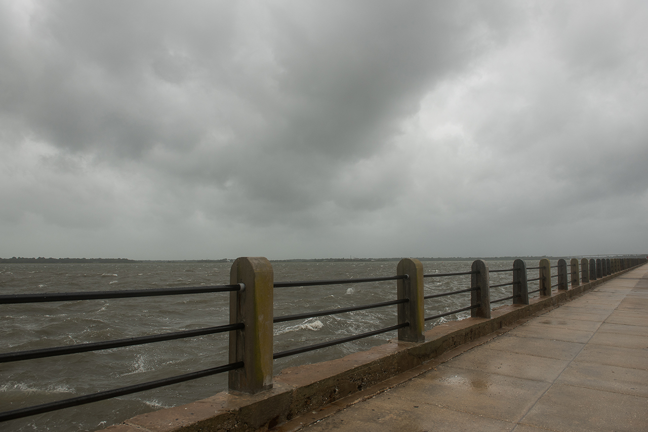 cloudy sky over the charleston battery