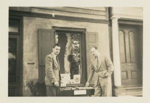 John Zeigler (R) and Edwin Peacock (L) at their bookstore, The Book Basement, now located on the CofC campus. The John Zeigler papers are currently being processed by project staff.