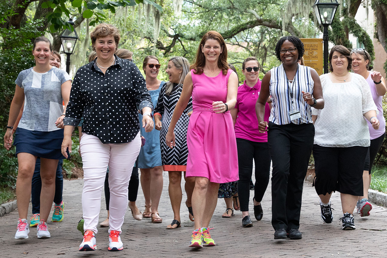 faculty and staff walk as part of the aex step challenge