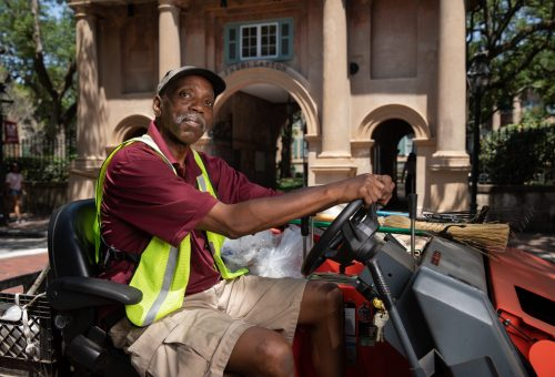 Grounds Tech Takes Pride in Keeping Campus Streets Clean