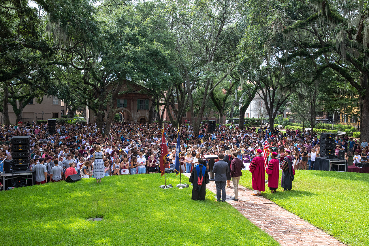 Students, faculty and staff gather in Cistern Yard for convocation