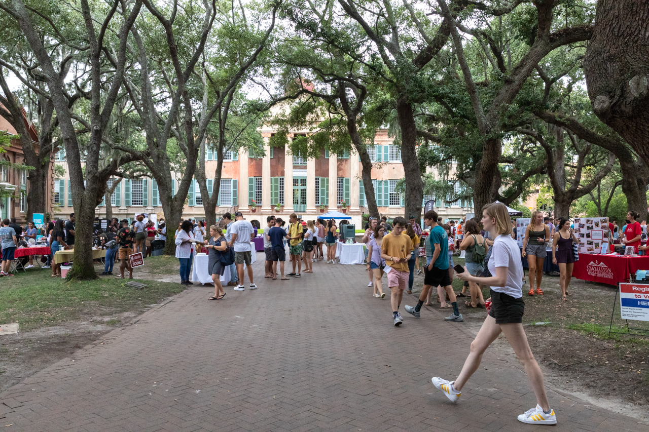 Students learn about campus activities at the involvement fair