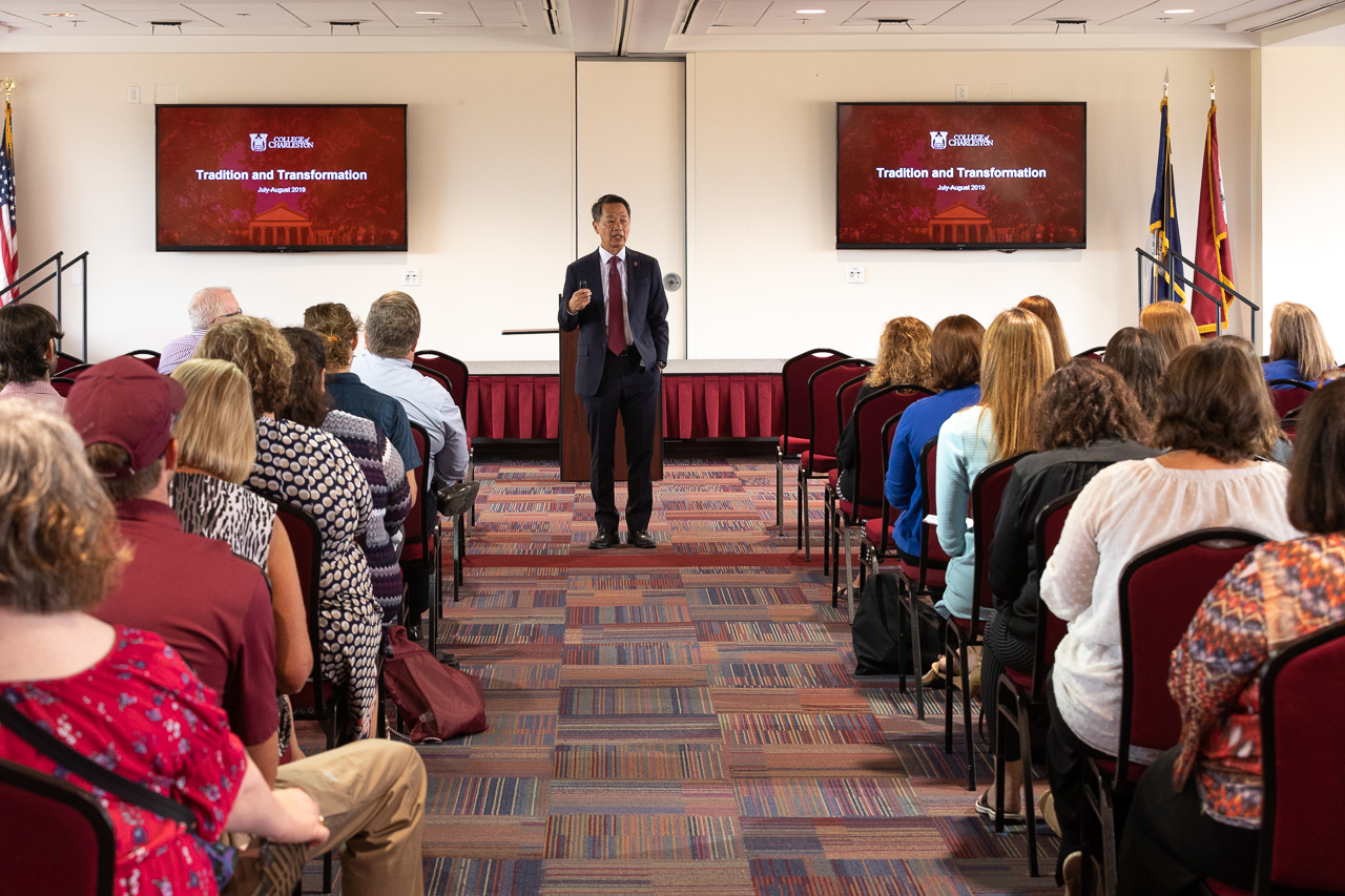 President Andrew Hsu presents the Strategic Planning findings to the college's faculty, staff and students.