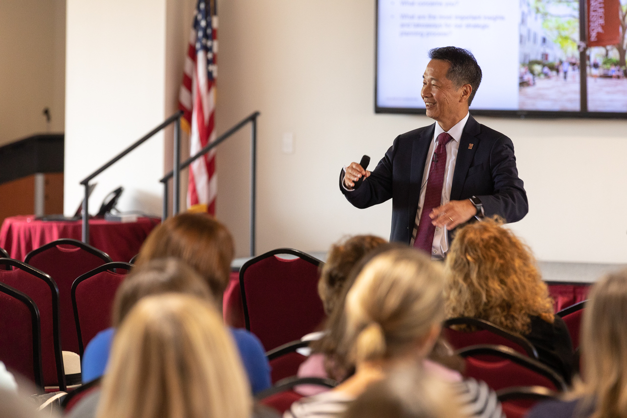 President Hsu speaks with students, faculty and staff during a campus forum