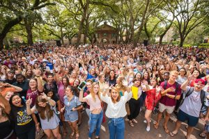 Students gather in Cistern Yard at the College of Charleston for convocation.