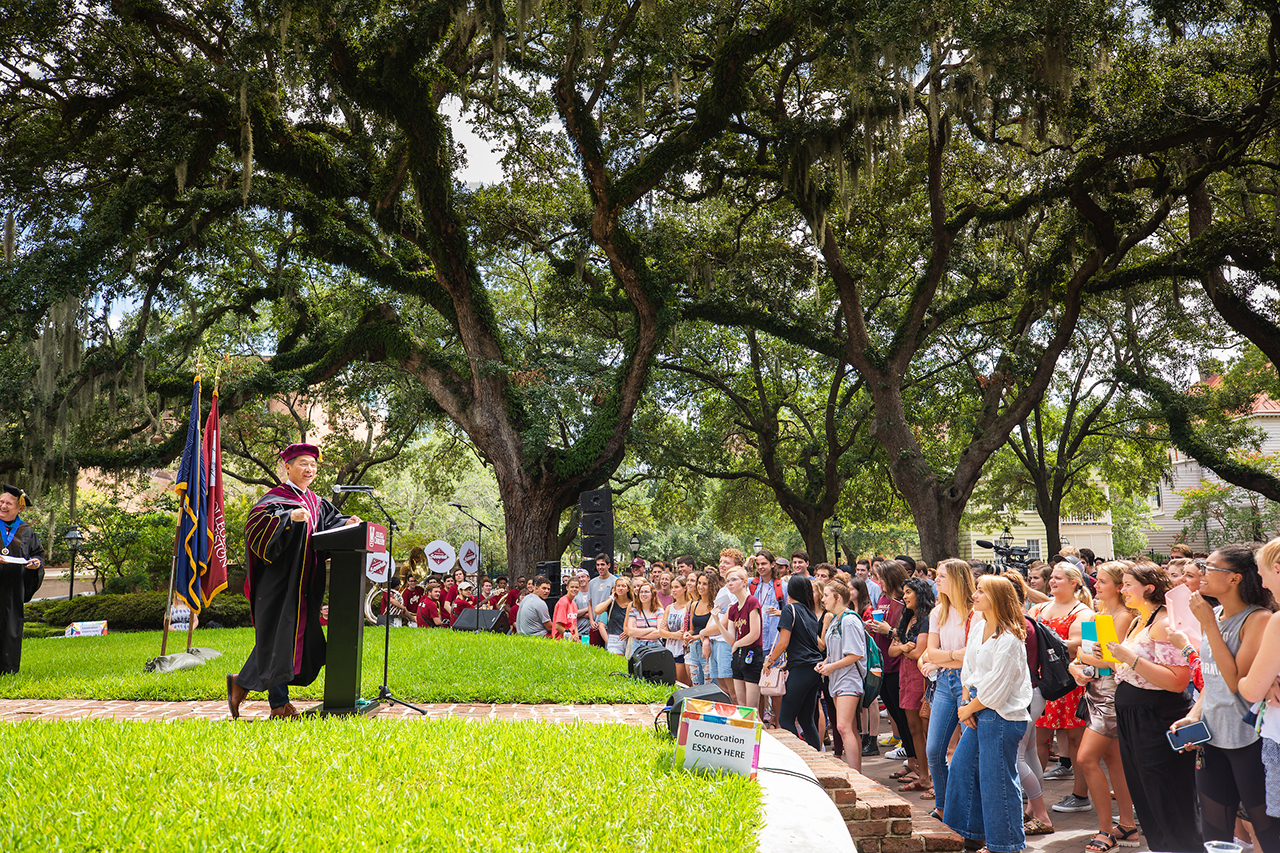 College of Charleston President Andrew T. Hsu speaks with students during convocation.