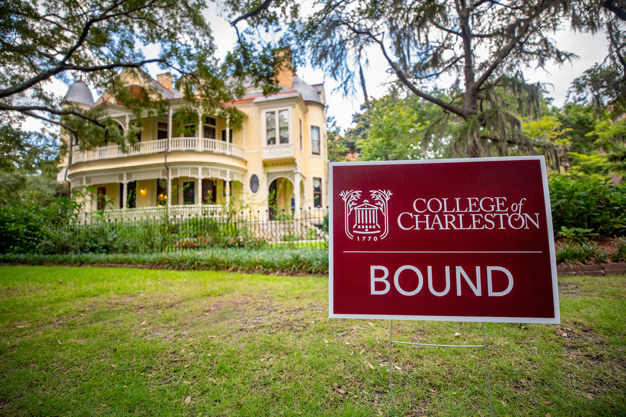 College of Charleston Bound sign in front of the Sottile House.