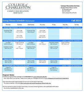 CRS Fall 2019 Group Fitness Calendar