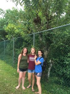 Abby Stephens, Samantha Czwalina and Bailey Fallon spot a sloth while exploring Isla Colón.