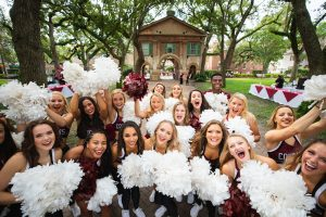 College of Charleston cheerleaders in Cistern Yard.