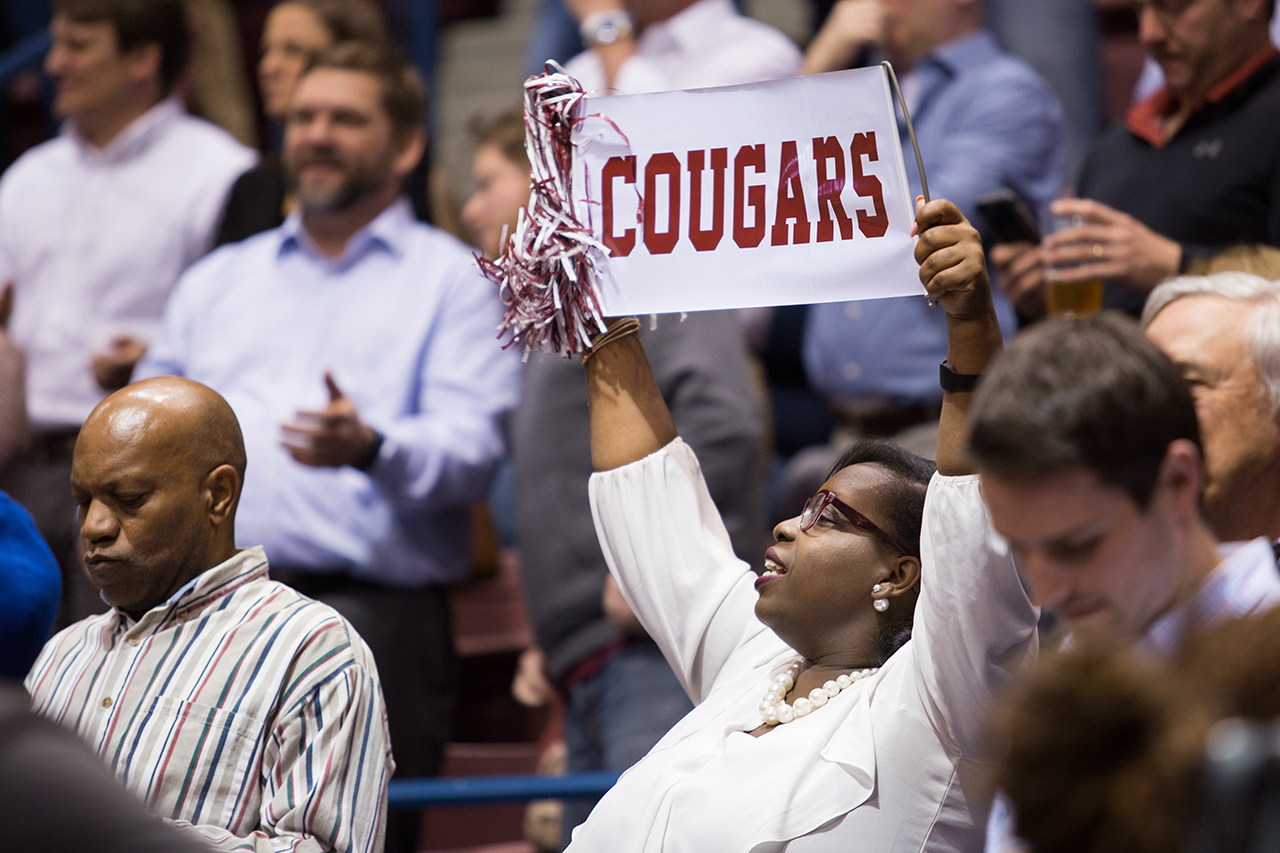 faculty and staff cheer Cougars