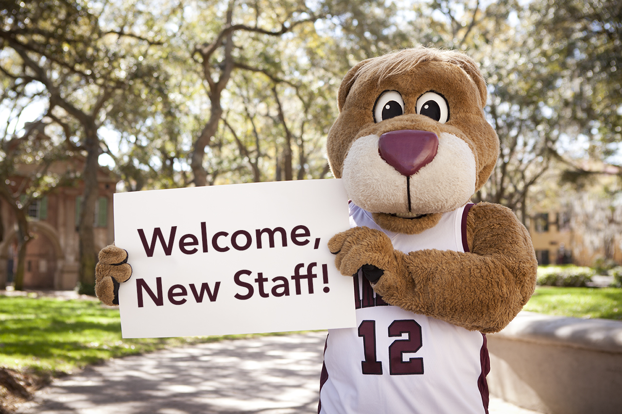 Clyde the cougar welcomes new cofc staff