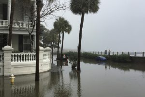 Flooding at the battery in Charleston, South Carolina.