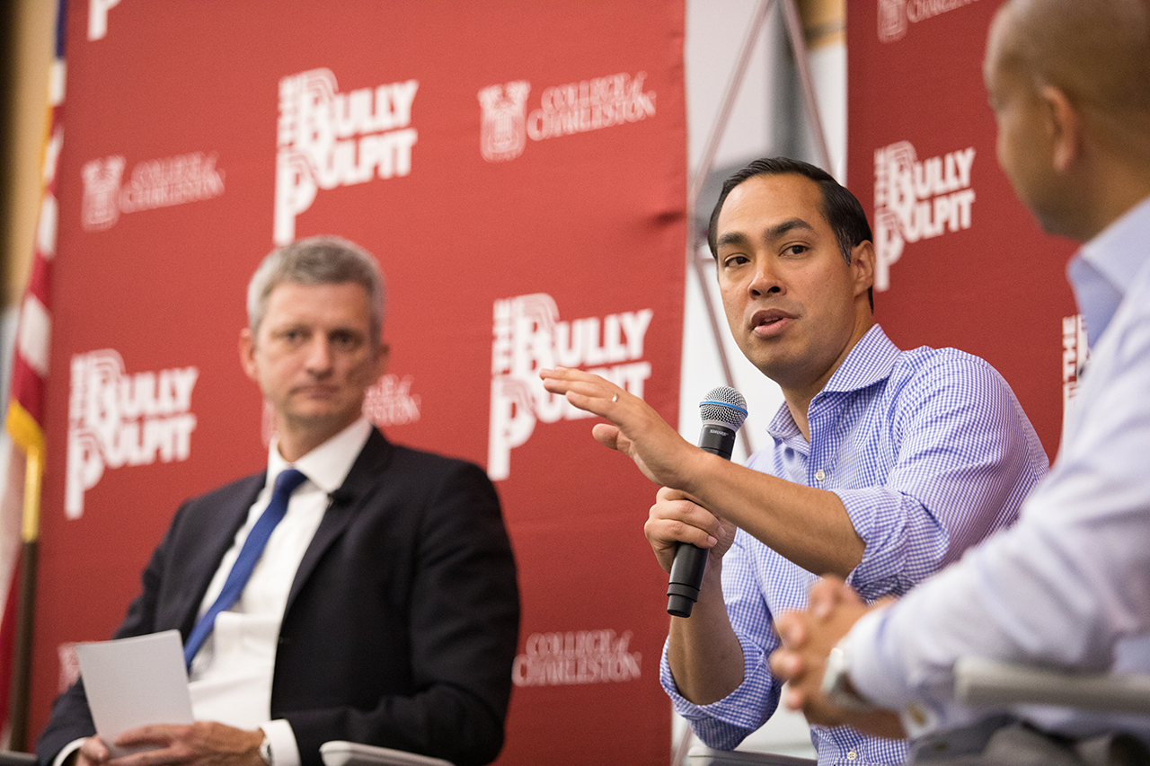 Julian Castro speaks to members of the Charleston community at the College of Charleston, August 30, 2019.