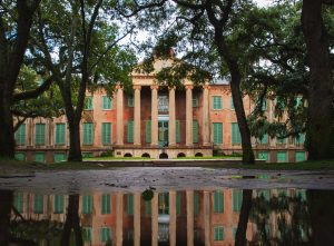 Randolph Hall reflected in flood waters from Hurricane Dorian.