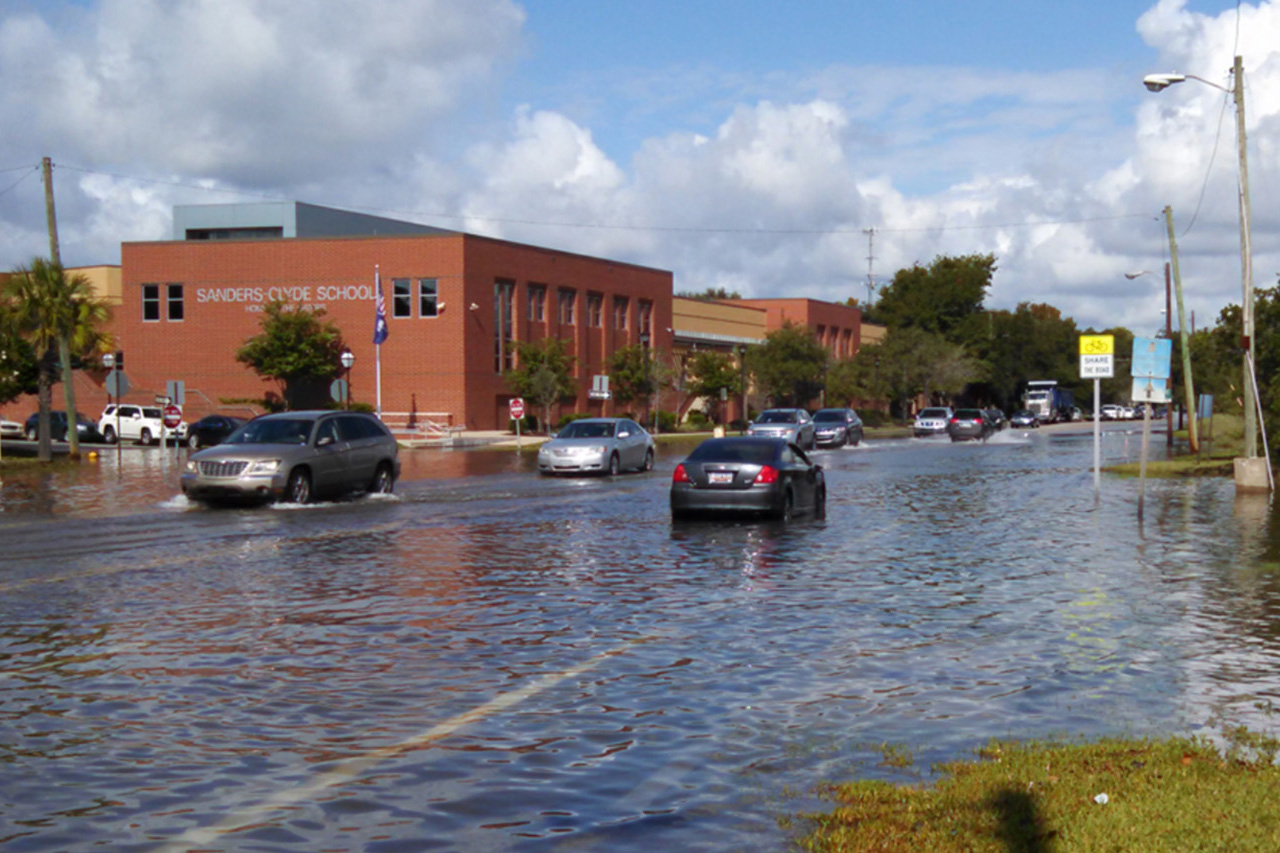 A road is flooded on East Bay Street in dowtown Charleston
