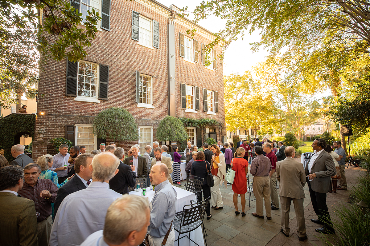 Board of Trustees faculty drop-in at the President's House, College of Charleston.