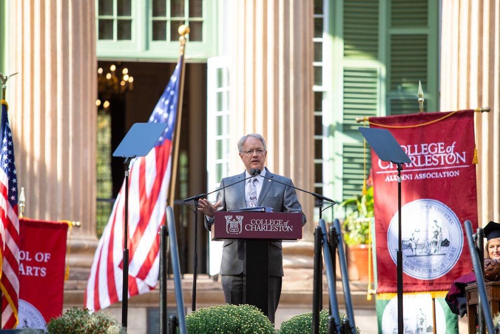 Charleston Mayor John Tecklenburg speaks at President Andrew Hsu's inauguration.