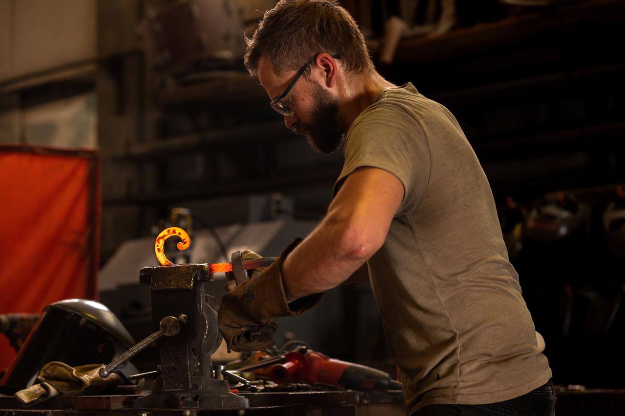 Carey Morton bends iron