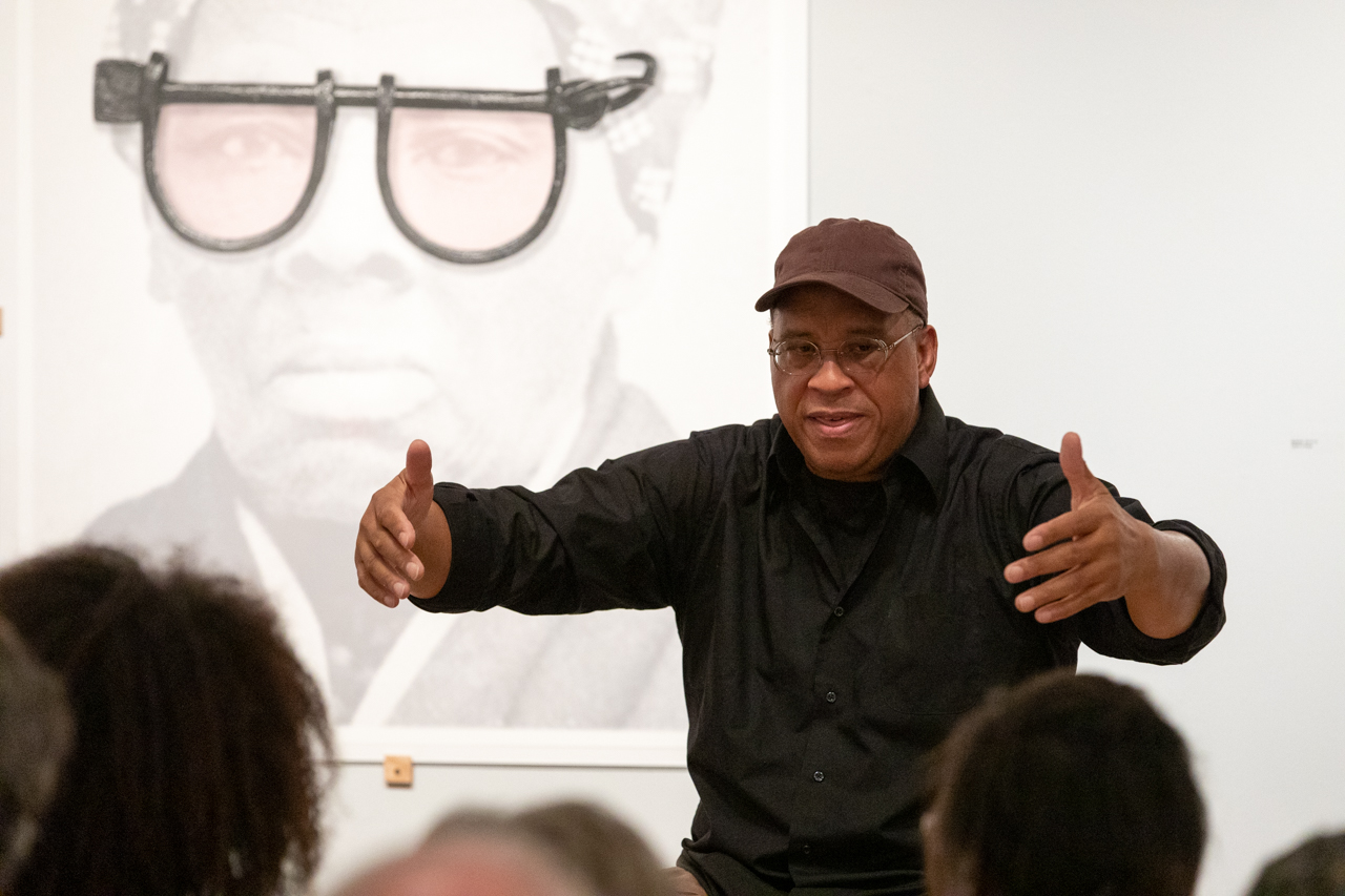 Kali Holloway talks with Colin Quashie about his series Linked in their conversation at the Halsey Institute of Contemporary Art on October 1, 2019.