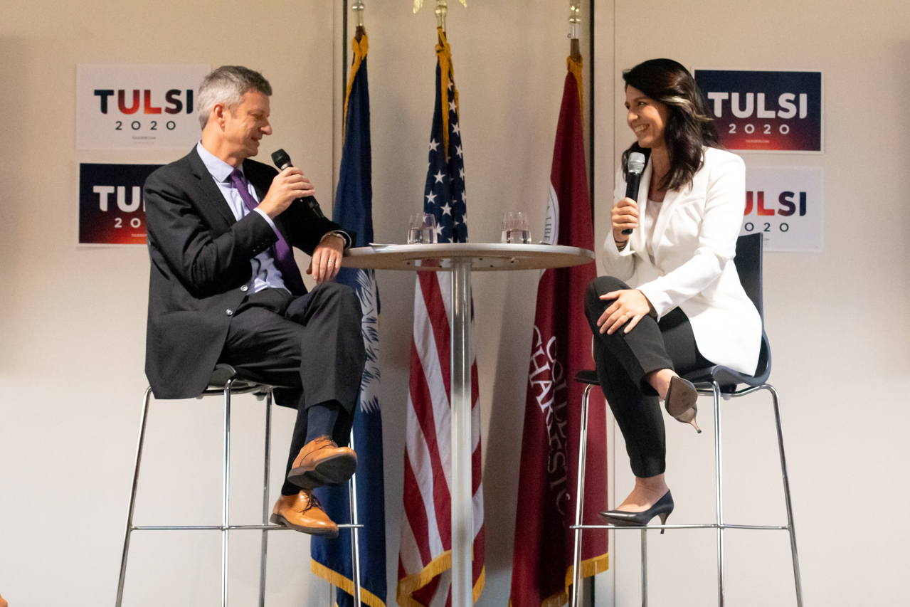 Democratic presidential candidate Congresswoman Tulsi Gabbard visited the College of Charleston on October 4, 2019, to attend the Bully Pulpit Series.