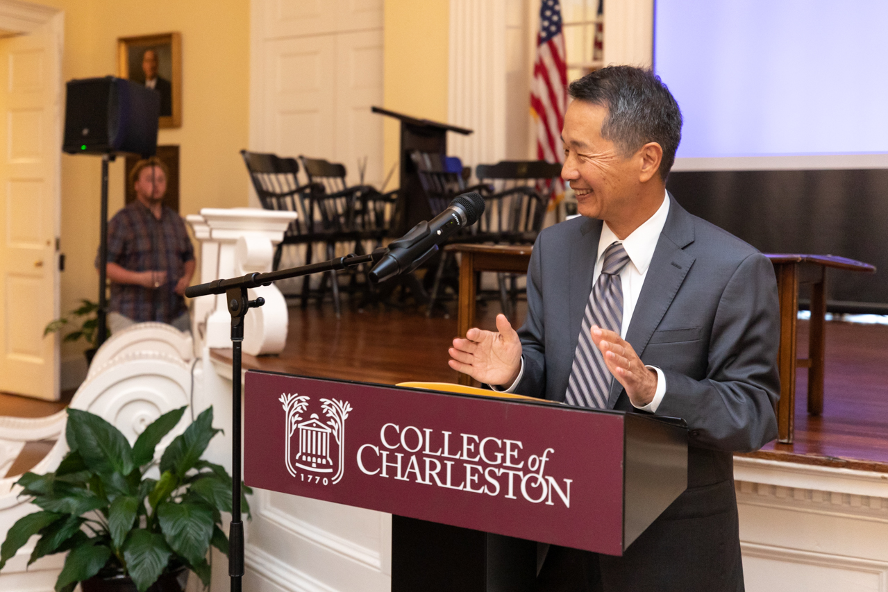 College of Charleston President Andrew Hsu speaks at the first Presidential Speaker Series hosted by the Office of Institutional Diversity (OID) on October 8, 2019.