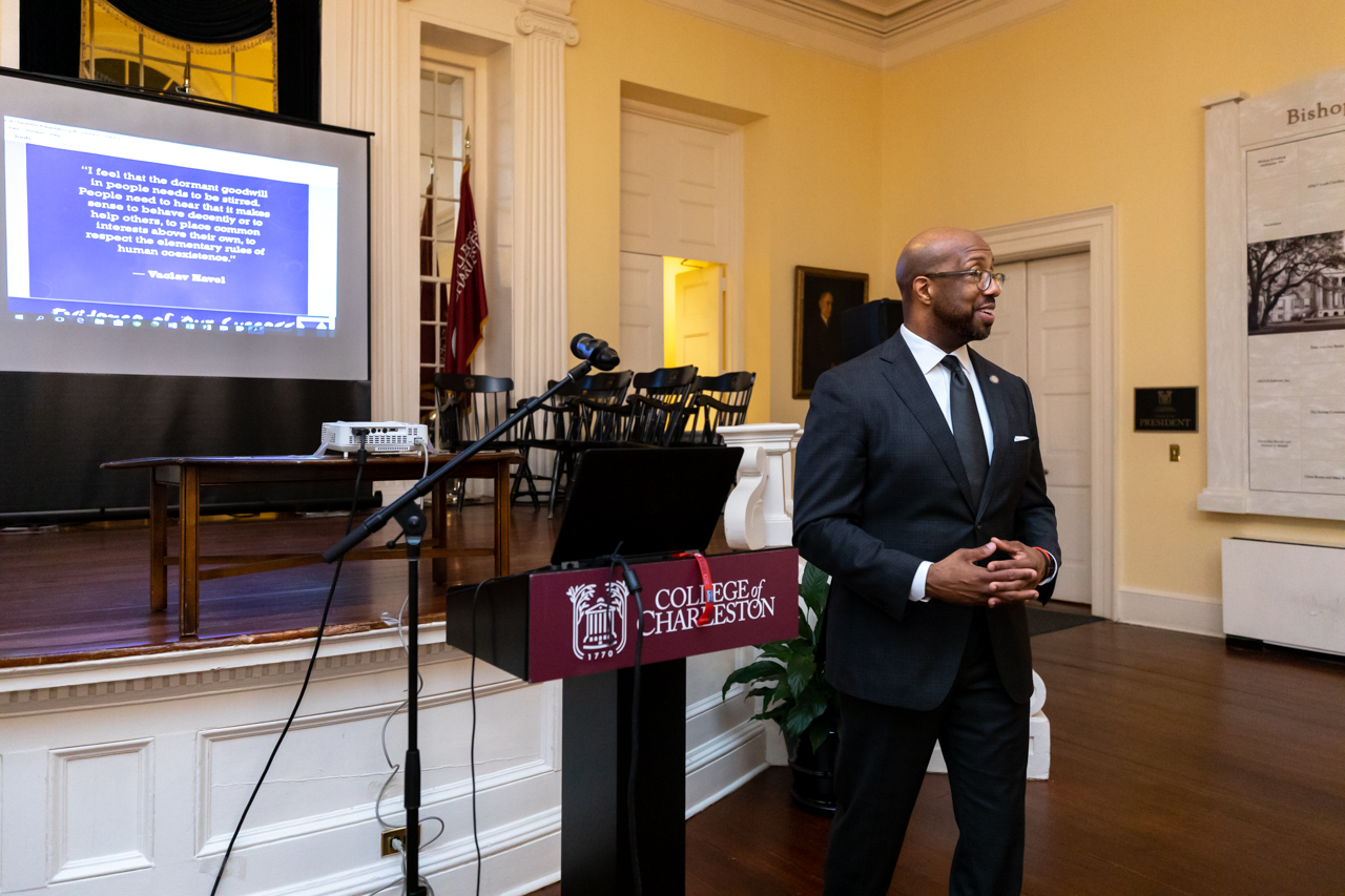 Dr Michael Sorrell the President of Paul Quinn College in Dallas, Texas visits the College of Charleston for the Presidential Speaker Series hosted by the Office of Institutional Diversity (OID) on October 8, 2019.