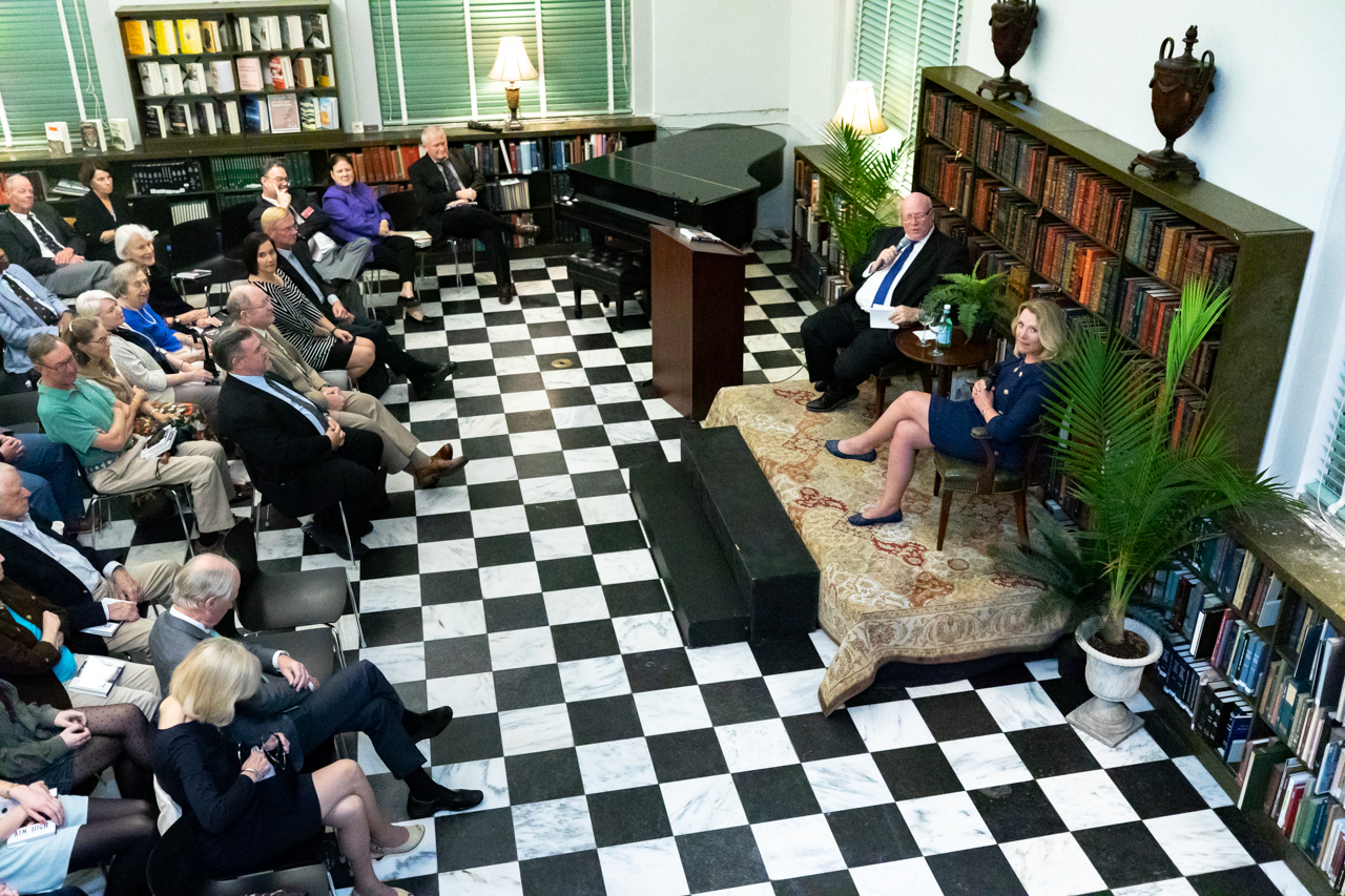 Ambassador Jim Melville hosts Deborah James for the first Ambassador's Corner event. James is the former Secretary of the Navy were she discusses her life and book Aim High.