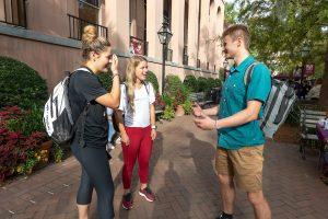 Rex Bingham making friends on campus.