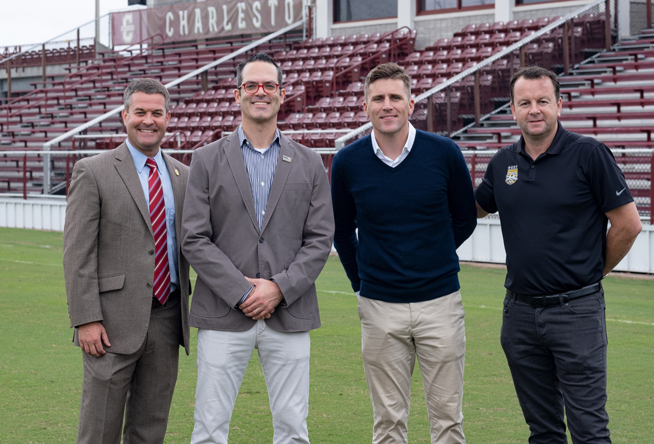 Matt Roberts with Charleston Battery execs and coaches