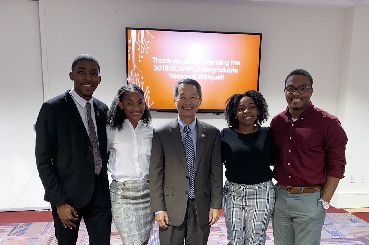 SCAMP students with college of charleston president Andrew Hsu