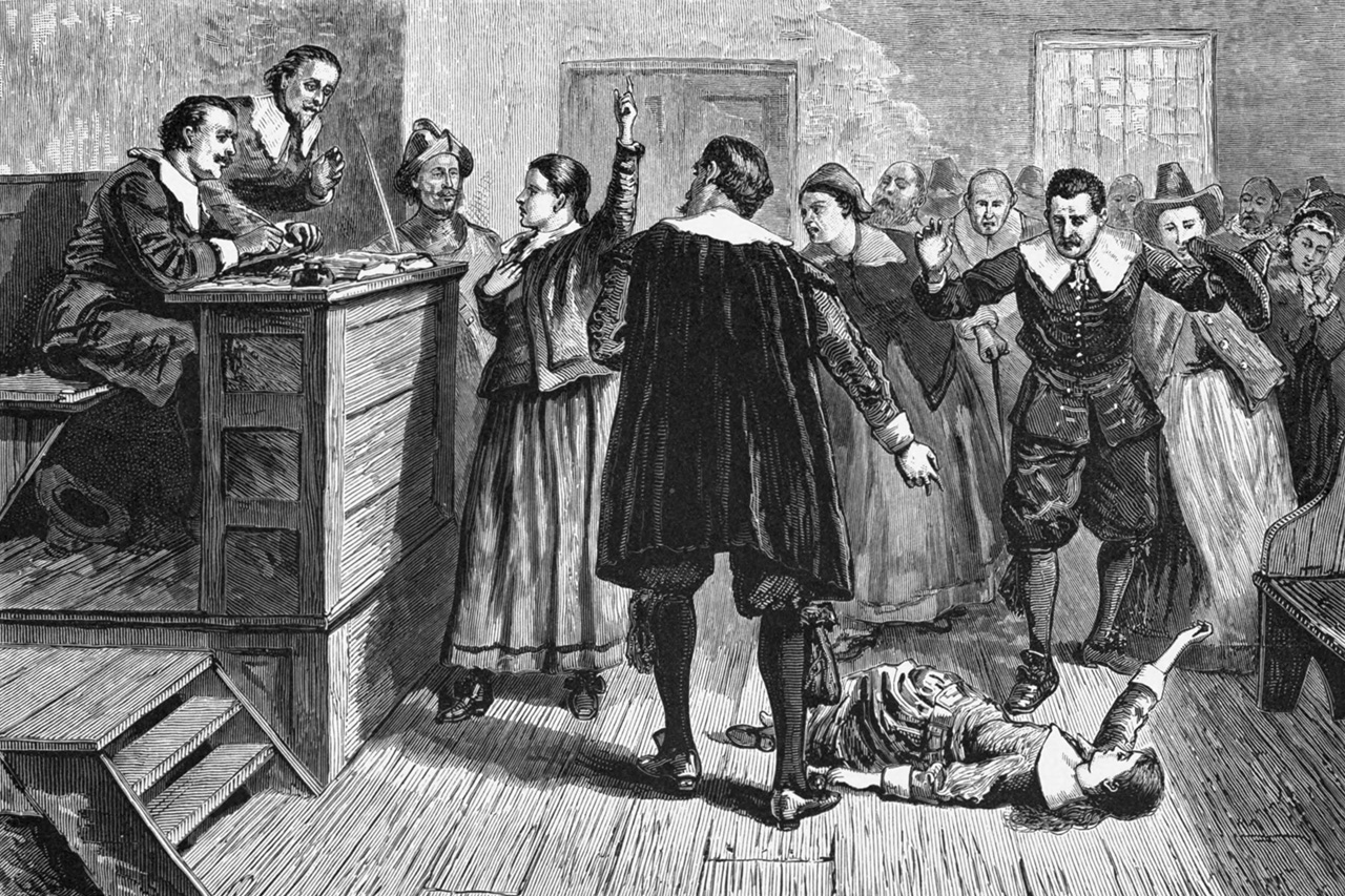 Rendering if a trial from the Salem Witch Trials