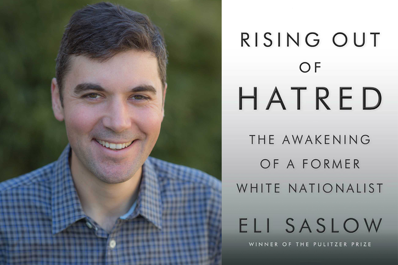 Eli Slaslow and book cover of Rising Out of Hatred