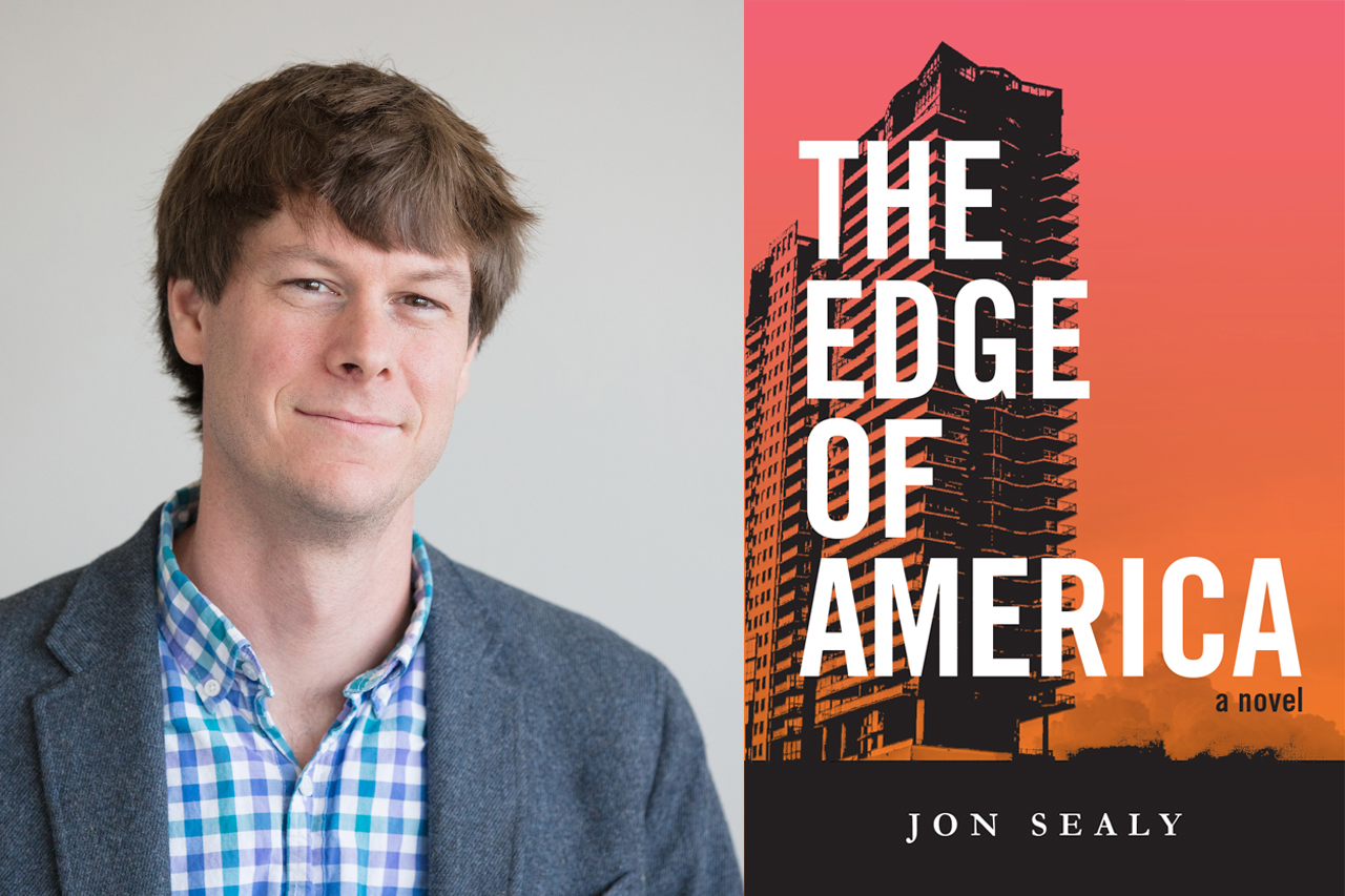 author jon sealy and the cover of his book 'the edge of america'