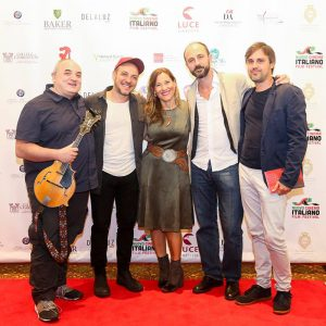 Giovanna De Luca with Italian actors and musicians at the 2018 Nuovo Cinema Italiano Film Festival.