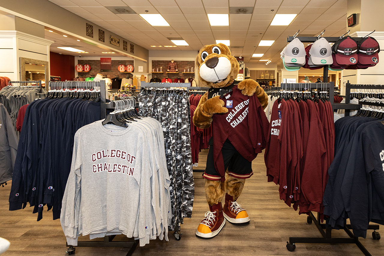 Clyde the Cougar shops in the College of Charleston Bookstore