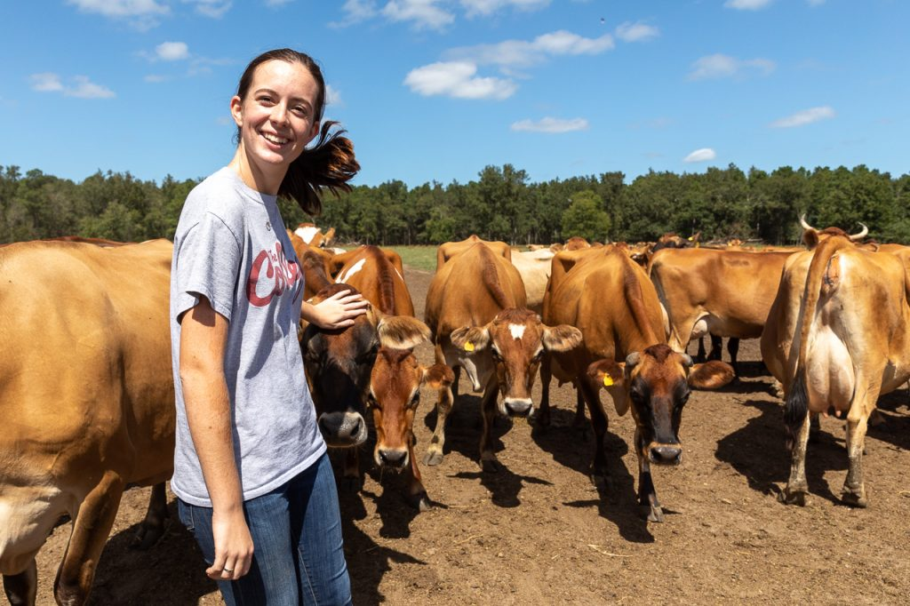 Adilaide Bates, Urban Studies Major with a Sustainable Urbanism Concentration ('21) and Sustainability Coordinator for CofC Dining Services gets up close and personal with the jearsey cows at Lowcountry Creamery.