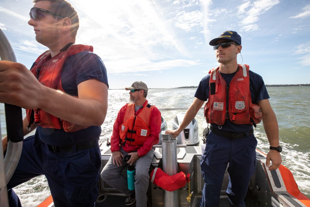 College of Charleston students participated in kayak rescue drills with the US Coast Guard