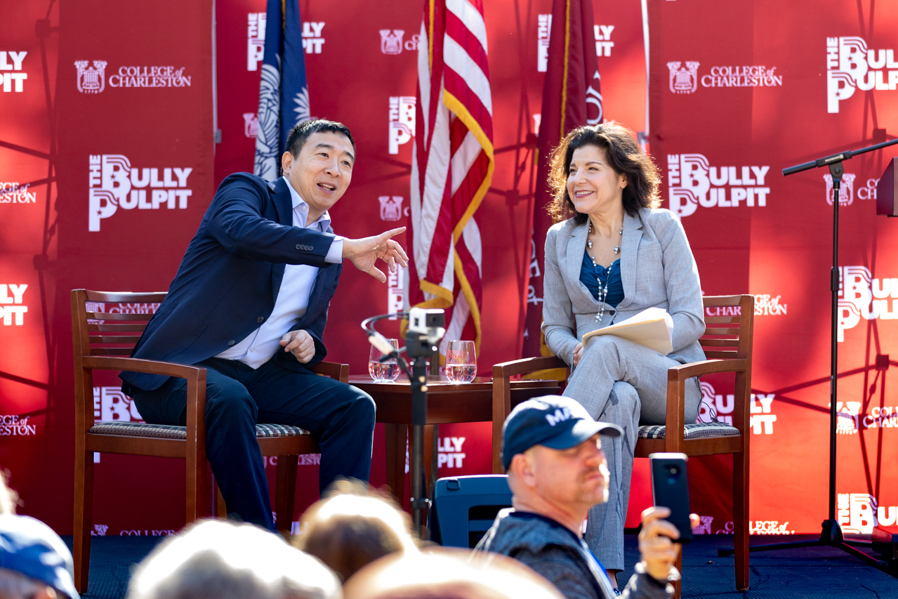 On November 22, 2019 Andrew Yang visited Charleston, SC for the Bully Pulpit series hosted by the College of Charleston.