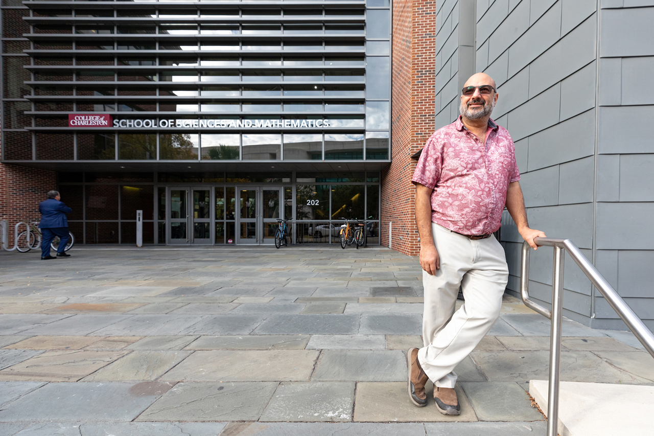 Norman Levine outside the School of Sciences and Mathematics Building