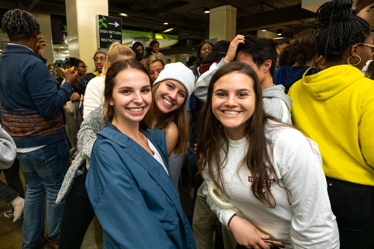 Students take a break from studying to eat a midnight breakfast and let off some steam at Liberty Fresh Foods Company on Tuesday night December 3, 2019.