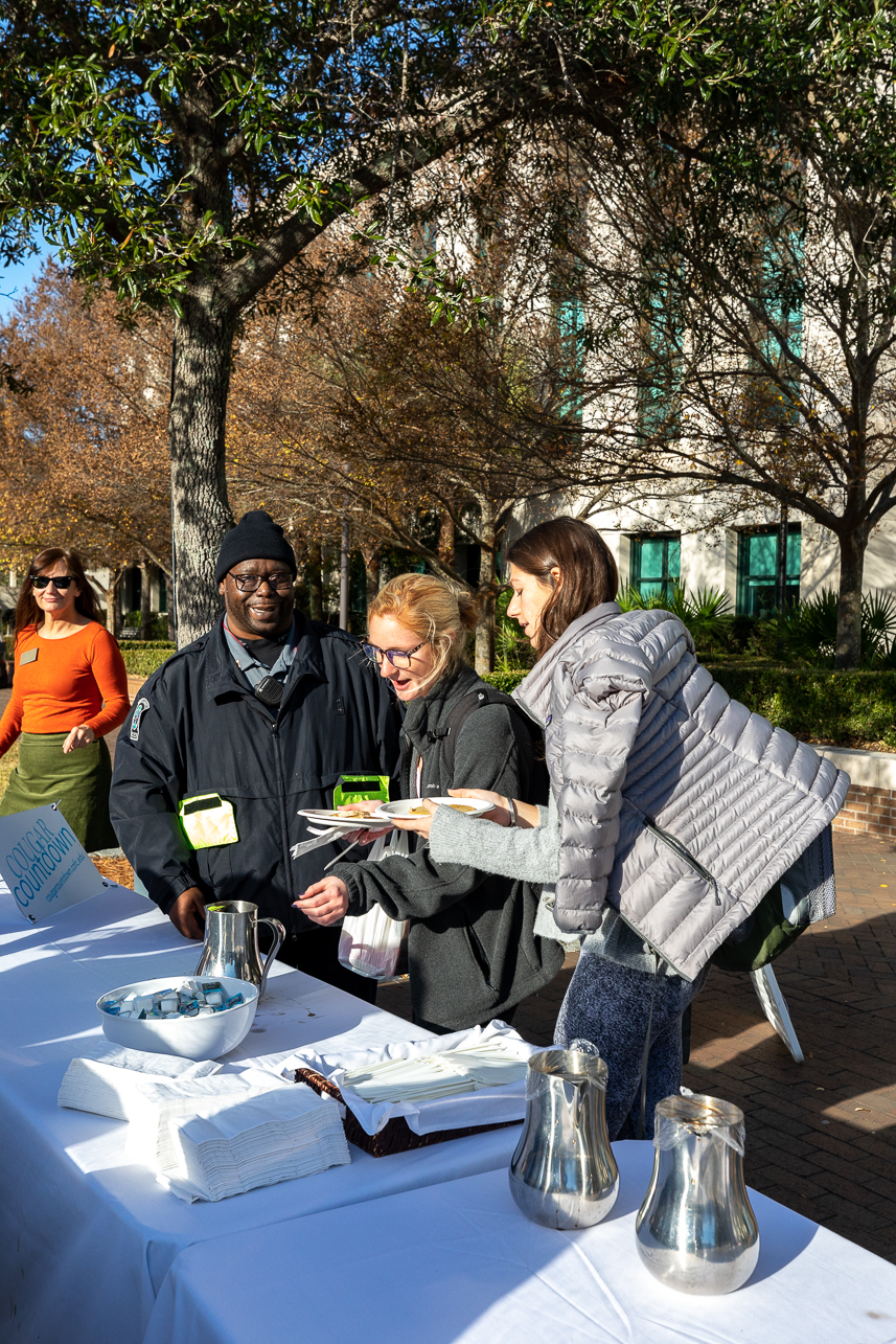 President Hsu and other staff members spent Friday morning December 6, 2019 on River's Green making pancakes for students, staff and faculty.