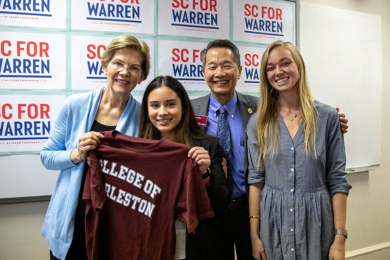 Democratic presidential candidate Senator Elizabeth Warren of Massachusetts visits Charleston, SC at the College of Charleston's Silcox Gym for a Town Hall event on December 8, 2019.