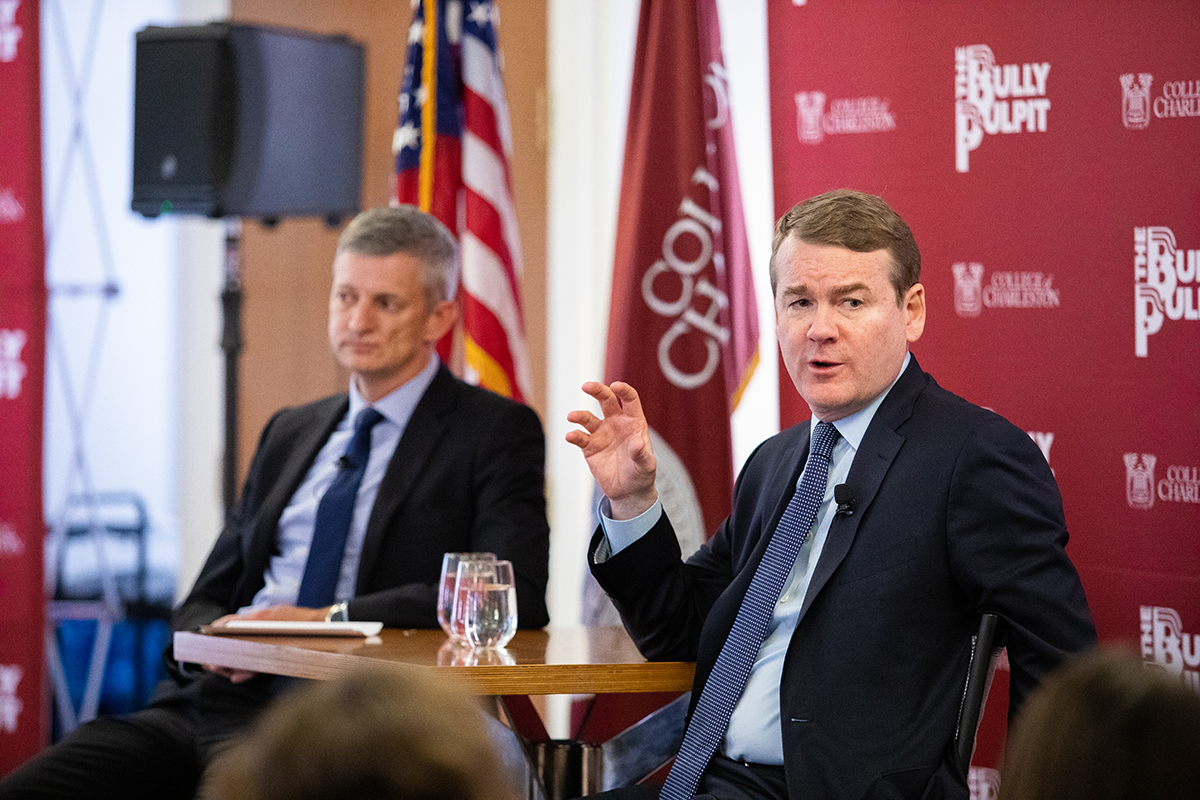 Colorado Democratic Senator Michael Bennet speaks to a crowd at the College of Charleston's Bully Pulpit speaker series.