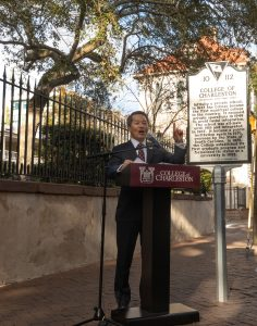 President Hsu speaks at the unveiling of a new South Carolina Historical Marker along George Street.