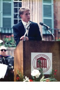 Tav Swarat speaking at commencement, 1989